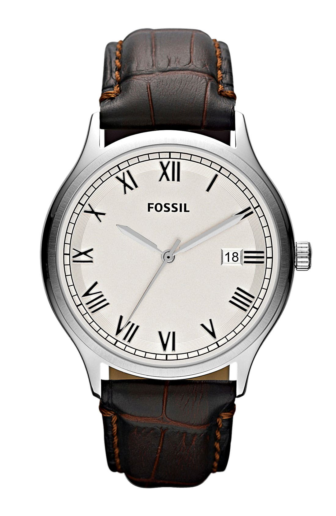 Main Image - Fossil 'Ansel' Leather Strap Watch, 41mm