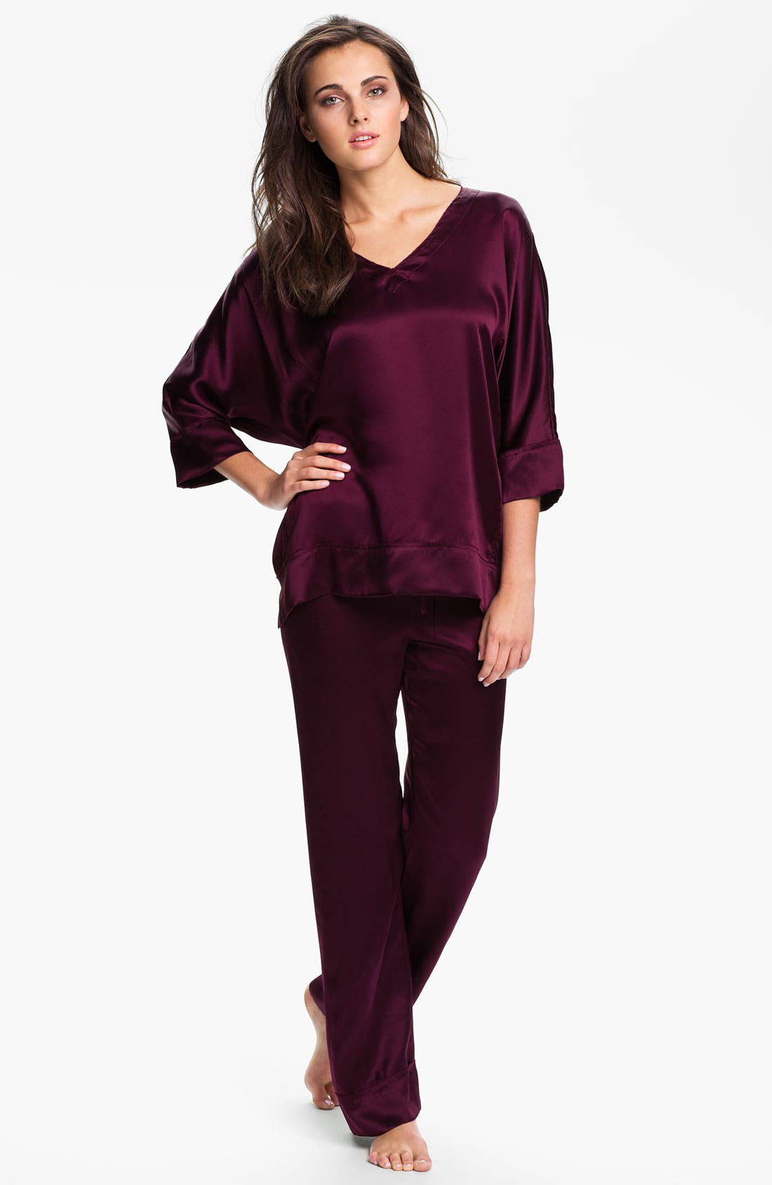 Alternate Image 1 Selected - Donna Karan 'Glamour' Silk Pajamas