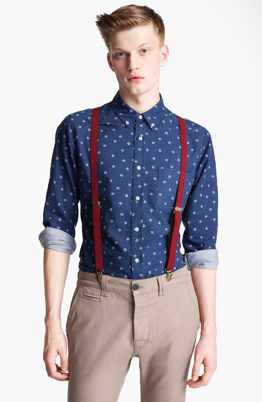 Alternate Image 1 Selected - Topman Floral Motif Woven Shirt
