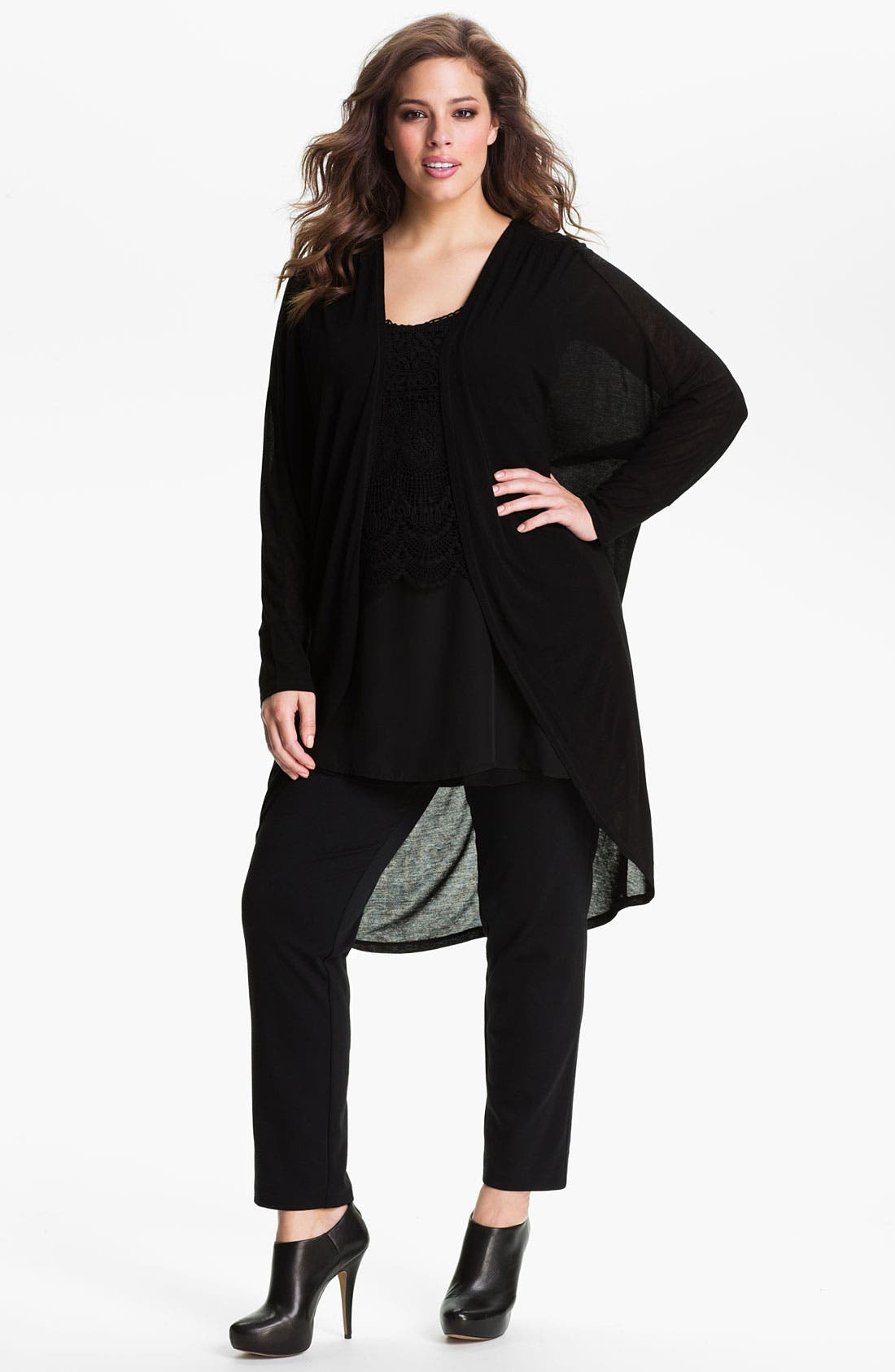 Main Image - Kische Sheer Open Front Cardigan (Plus)