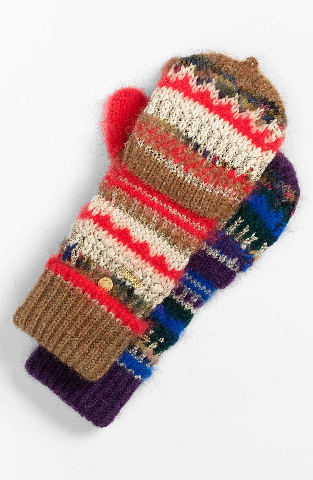 Main Image - Juicy Couture 'Pop Top' Mixed Yarn Mittens