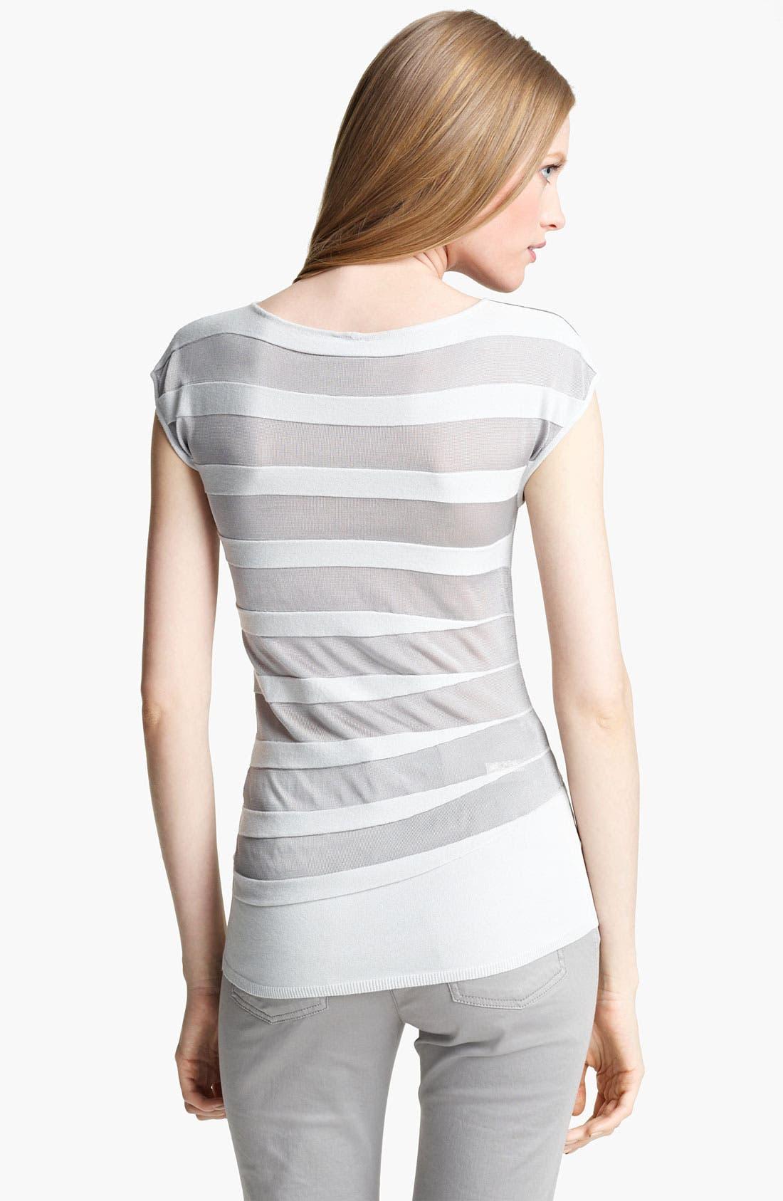 Alternate Image 2  - Armani Collezioni Asymmetrical Stripe Knit Top
