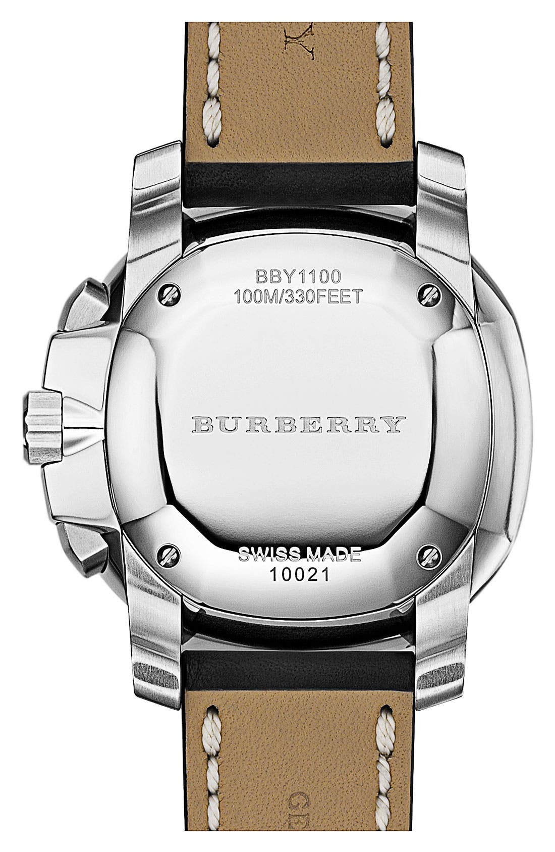 Alternate Image 3  - Burberry The Britain Chronograph Leather Strap Watch