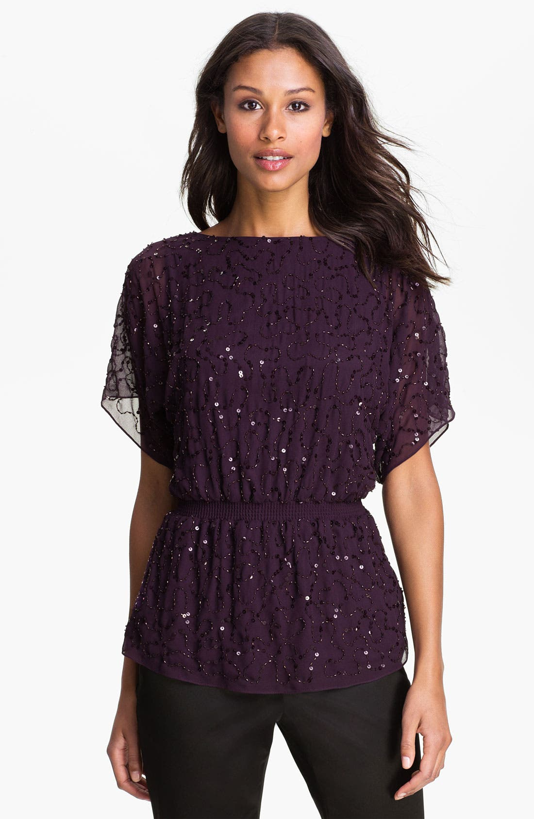 Alternate Image 1 Selected - Adrianna Papell Embellished Dolman Sleeve Chiffon Blouse