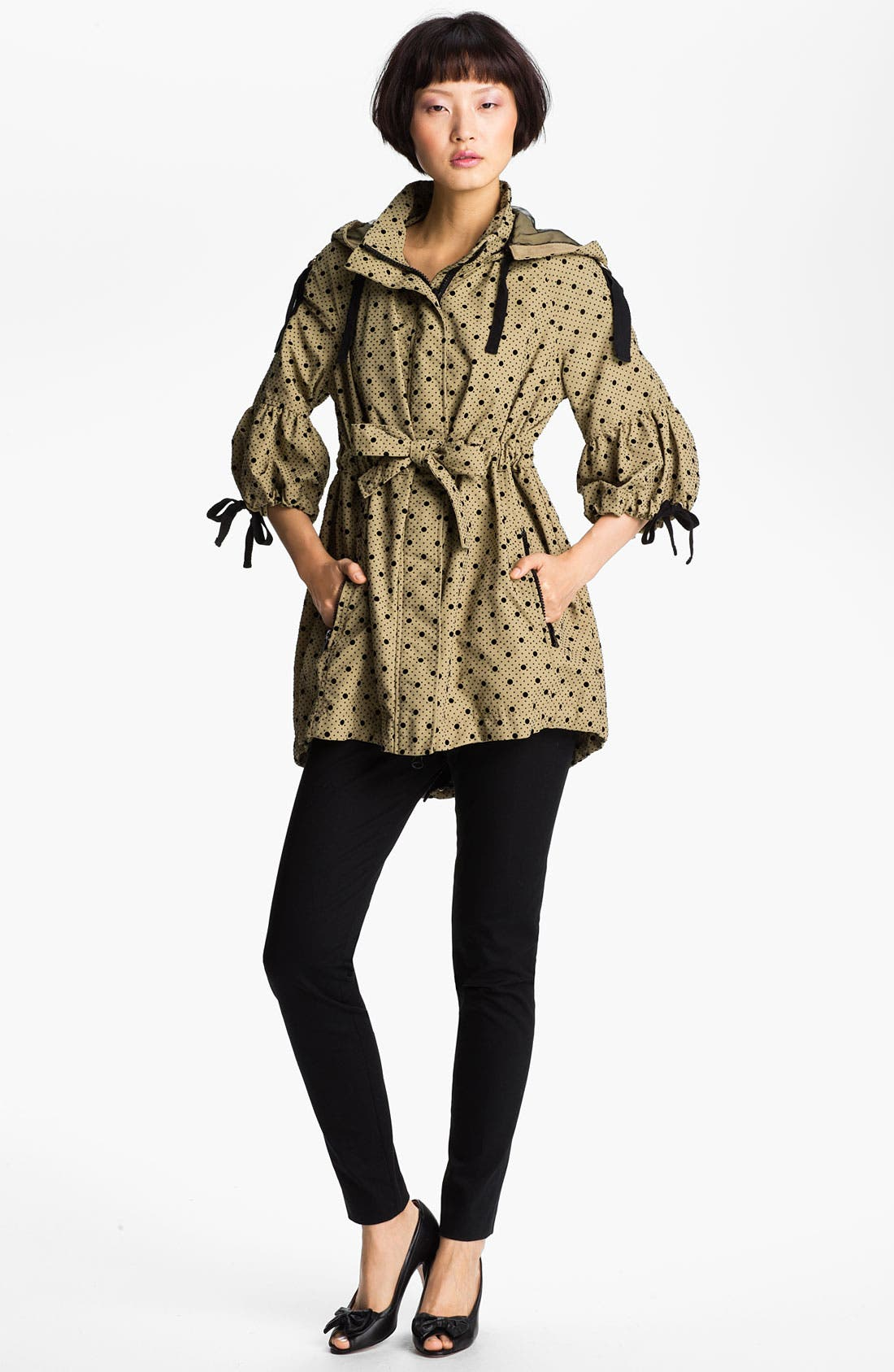 Main Image - RED Valentino Polka Dot Hooded Trench Coat