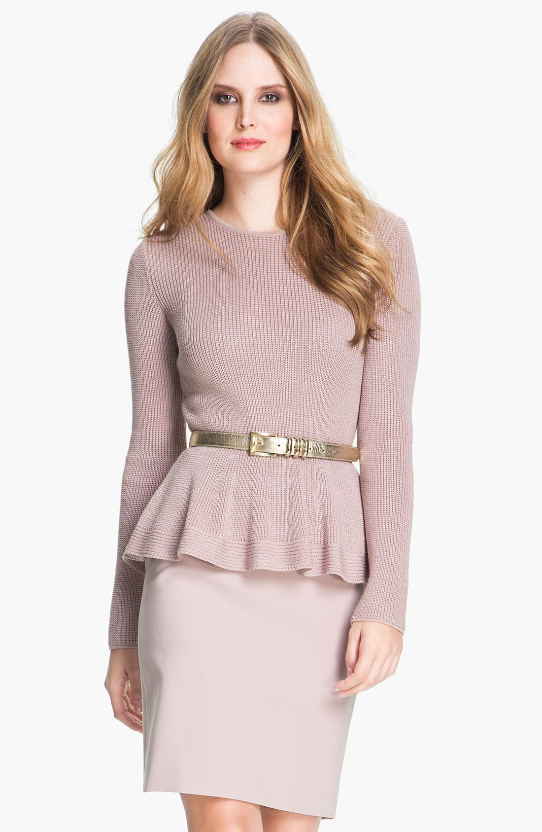 Alternate Image 1 Selected - St. John Collection Crewneck Peplum Sweater