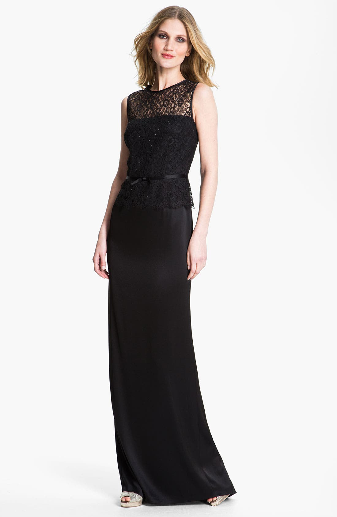 Alternate Image 1 Selected - St. John Collection Liquid Satin & Lace Gown