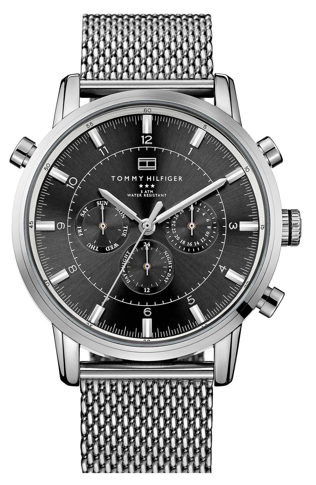 Chronograph Mesh Strap Watch, 44mm,                             Main thumbnail 1, color,                             Silver