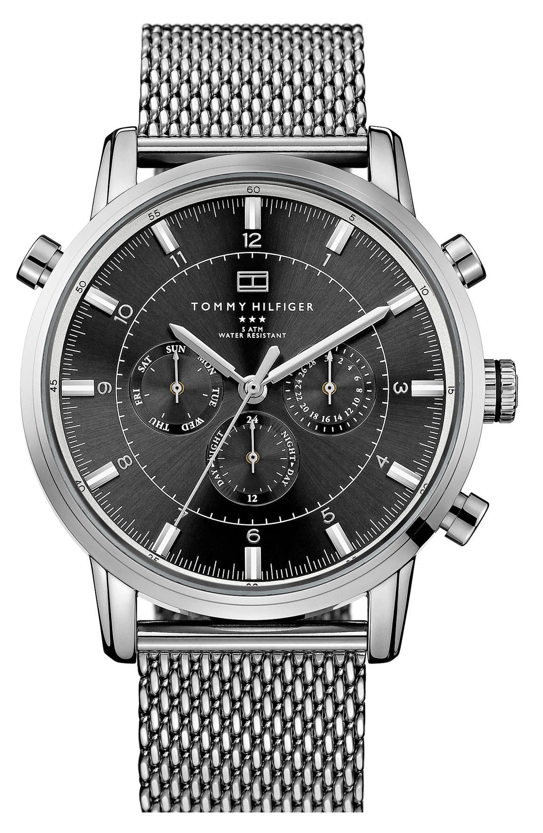 Chronograph Mesh Strap Watch, 44mm,                         Main,                         color, Silver