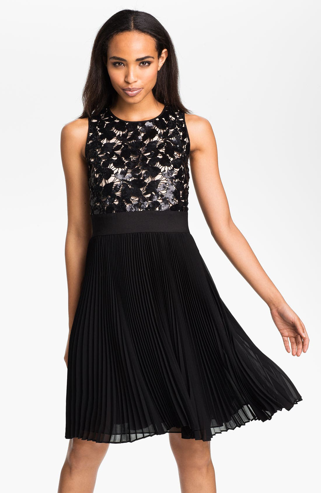 Alternate Image 1 Selected - Eliza J Sequin Bodice Pleated Fit & Flare Dress