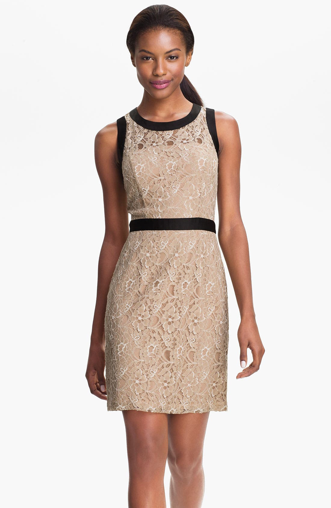 Main Image - Max & Cleo Satin Trim Lace Sheath Dress