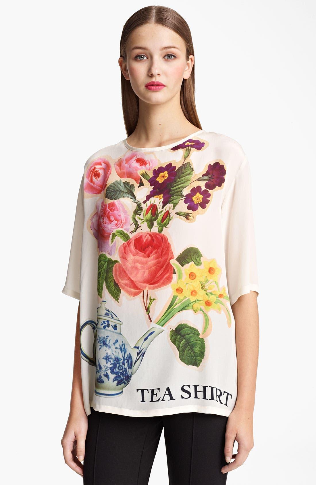 Alternate Image 1 Selected - Moschino Cheap & Chic 'Tea Shirt' Print Silk Tee