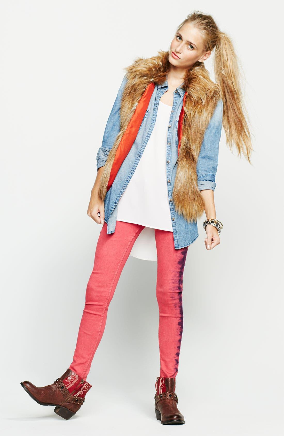 Alternate Image 4  - See Thru Soul Tie Dye Skinny Jeans (Juniors)