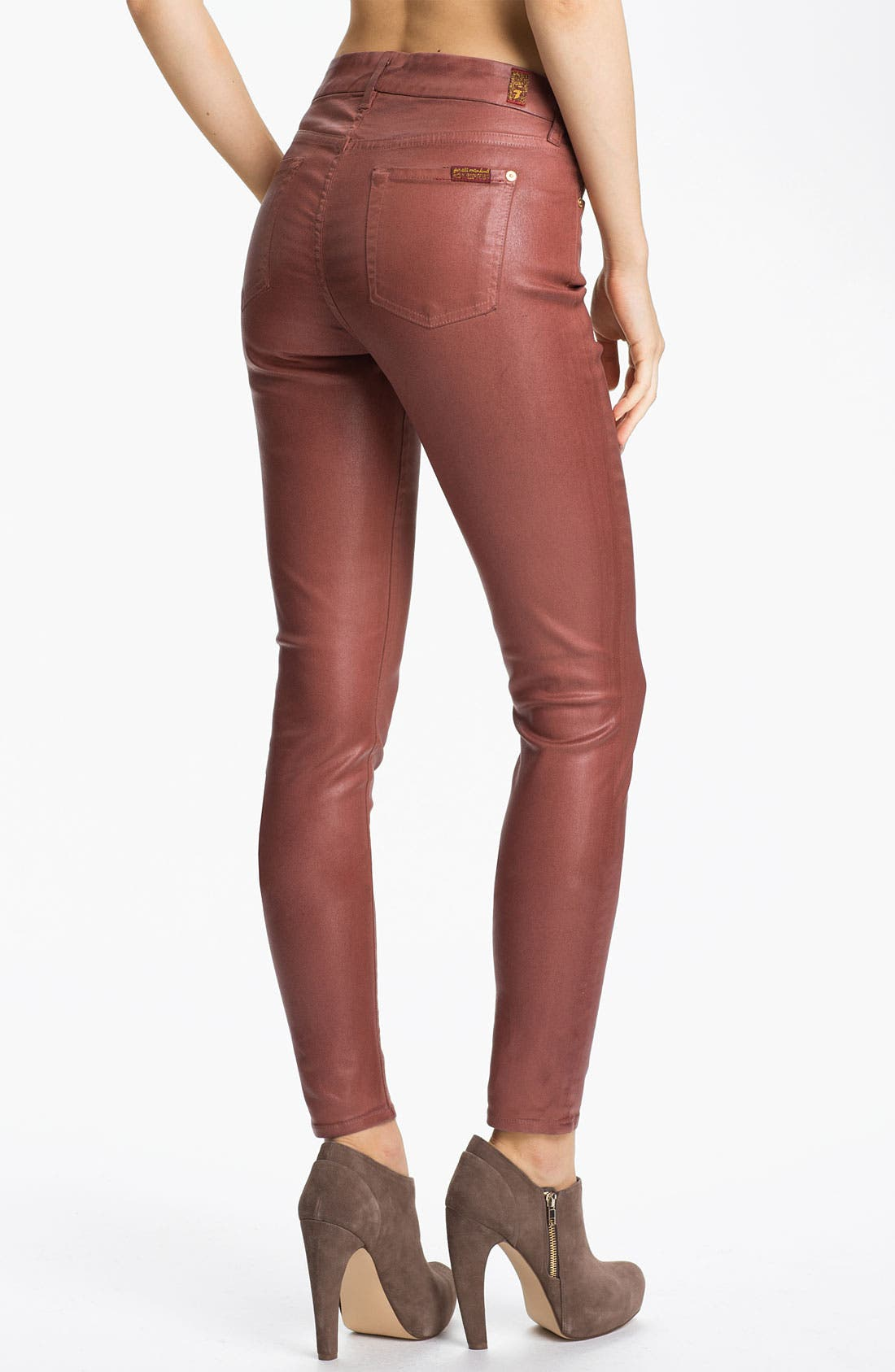 Alternate Image 2  - 7 For All Mankind® Coated Skinny Stretch Jeans (Dusty Pink High Shine)