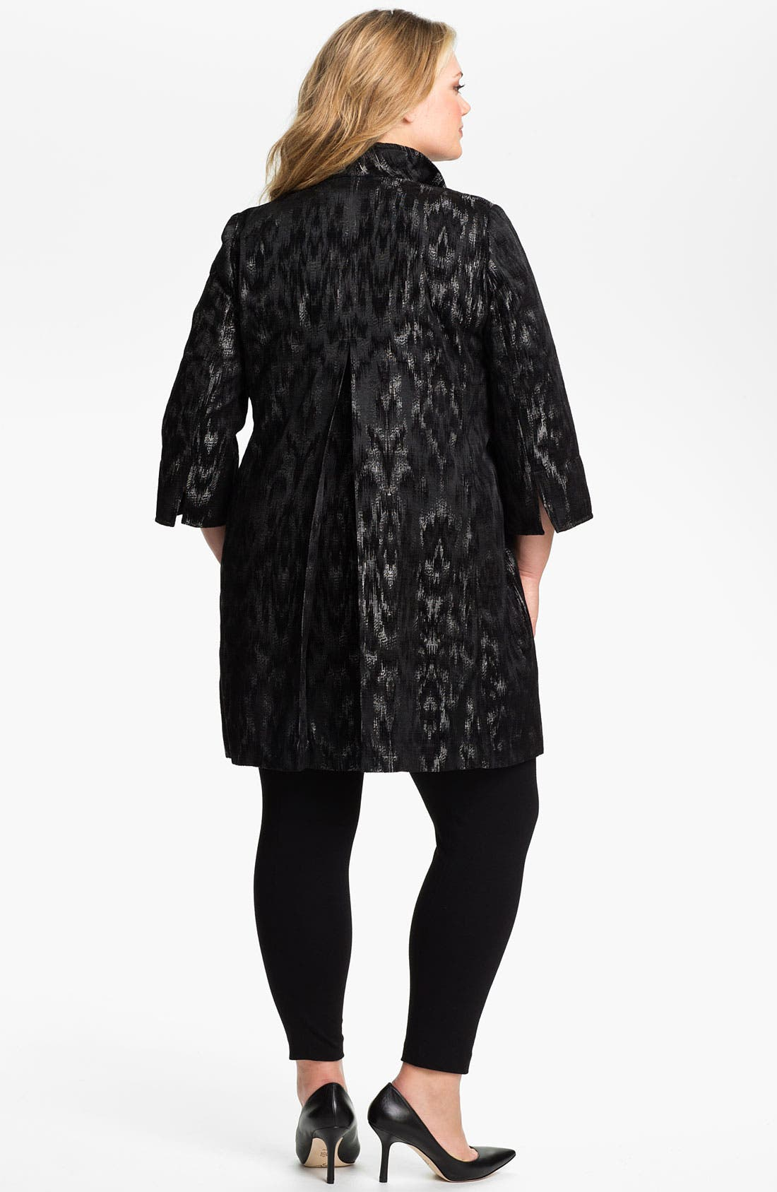 Alternate Image 4  - Eileen Fisher Open Front Three Quarter Sleeve Coat (Plus)