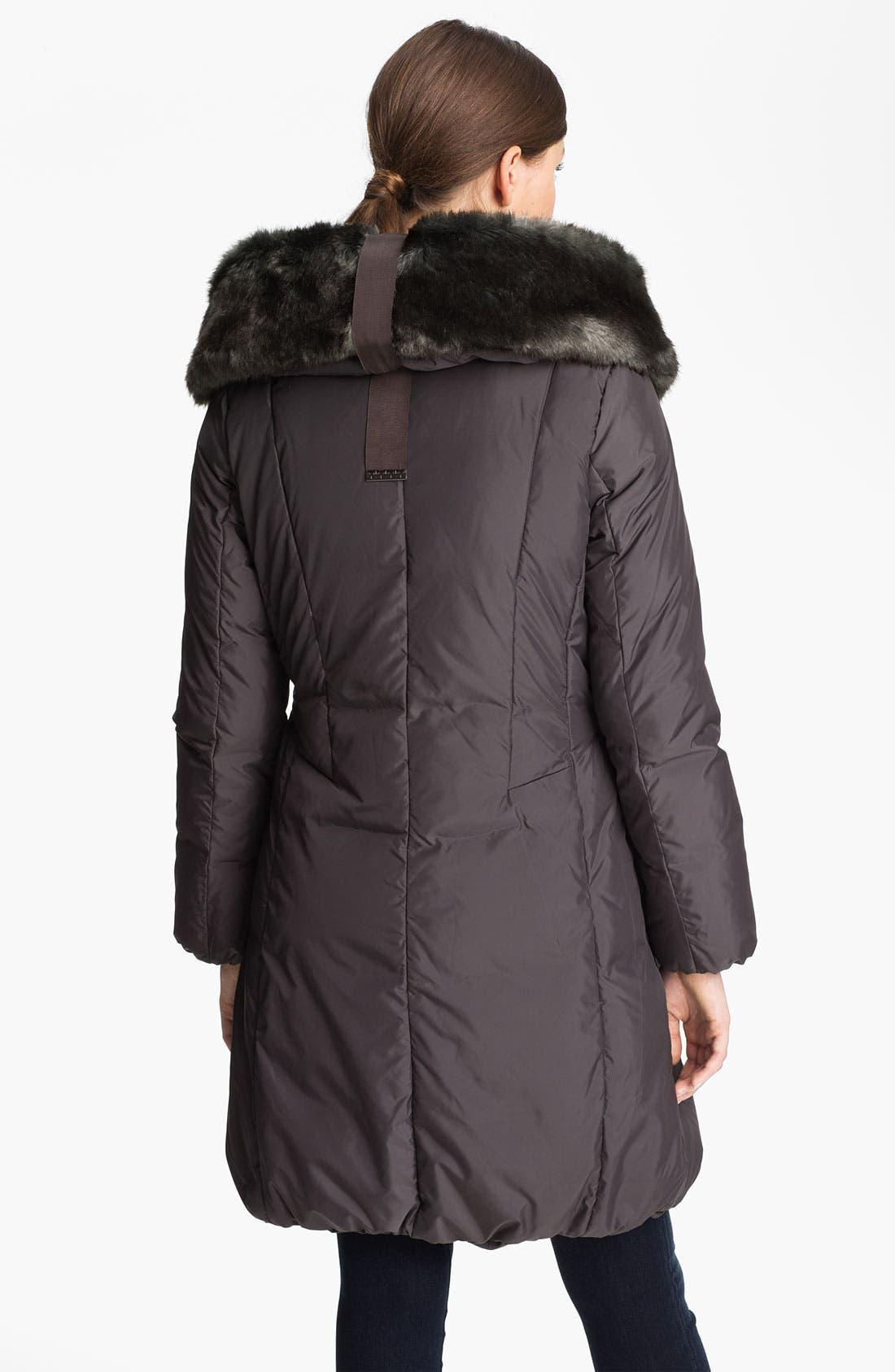Alternate Image 2  - Tahari 'Nina' Down Coat with Faux Fur Trim