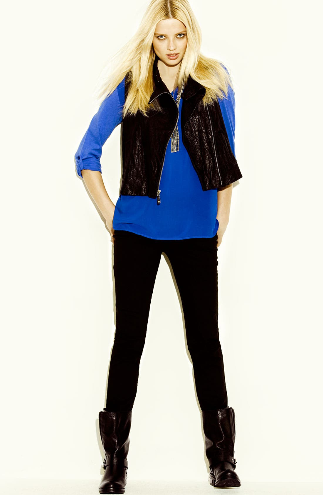 Alternate Image 4  - Two by Vince Camuto Zip Back Leather Vest