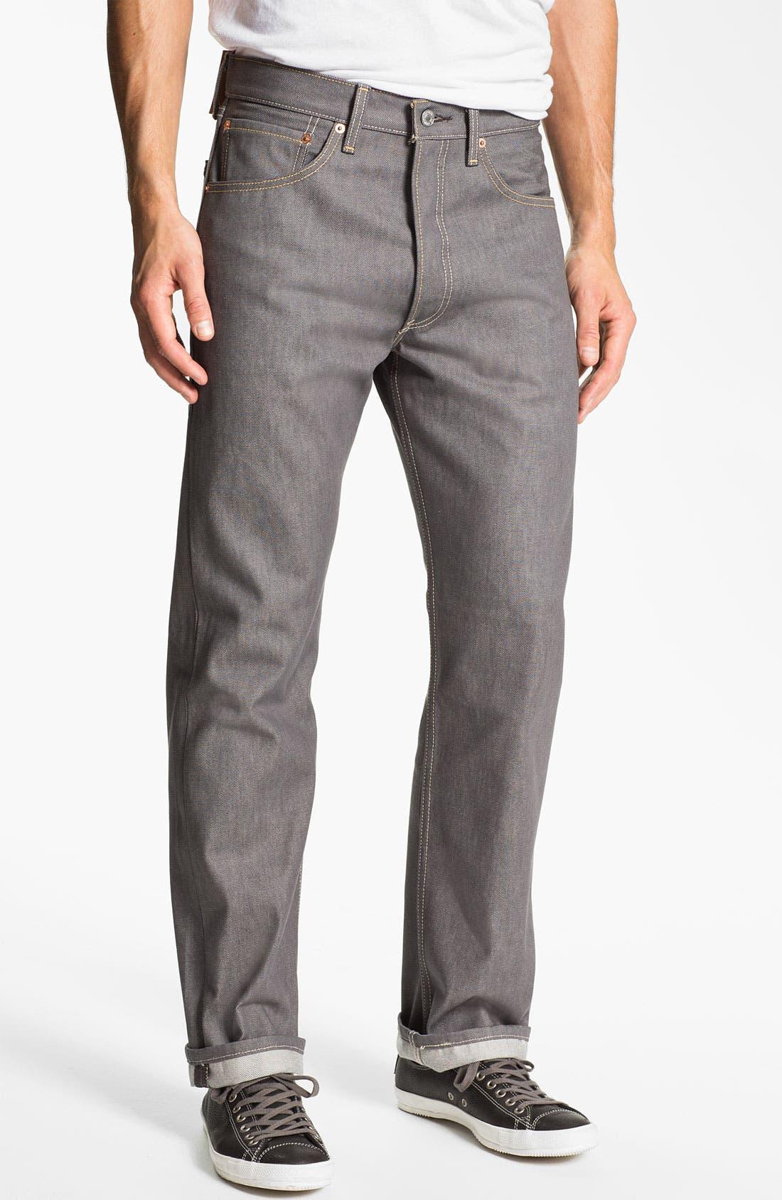 Main Image - Levi's® Red Tab™ 501® Straight Leg Jeans (Grey Rigid) (Regular & Tall)
