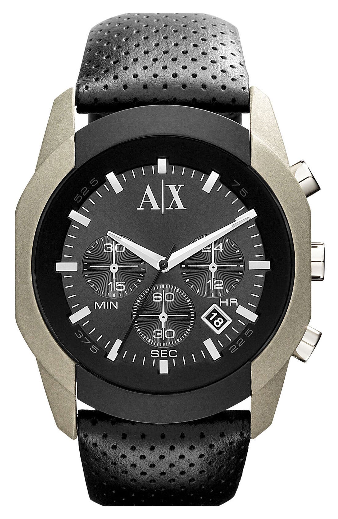 Main Image - AX Armani Exchange Chronograph Leather Strap Watch