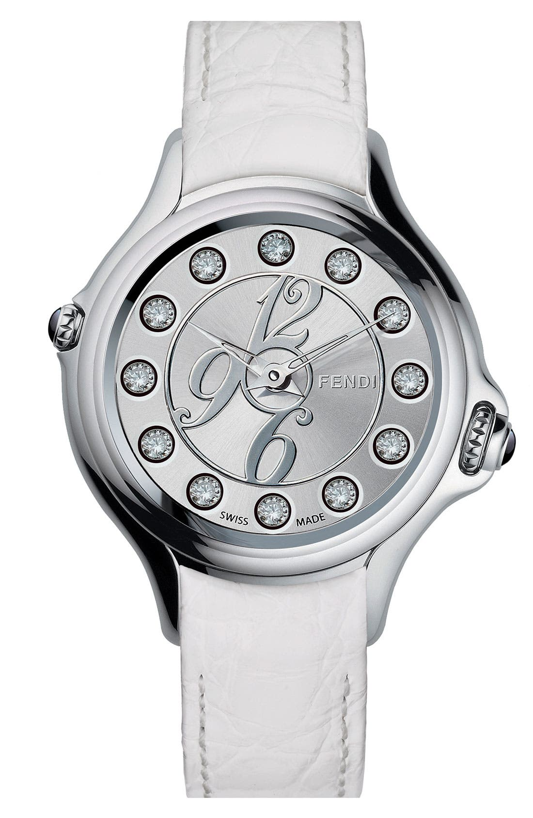 Alternate Image 2  - Fendi 'Crazy Carats' Teju Lizardskin Strap Watch, 38mm