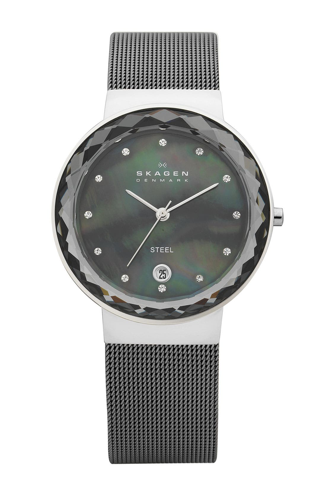 Alternate Image 1 Selected - Skagen 'Leonora' Faceted Glass Bezel Watch, 34mm