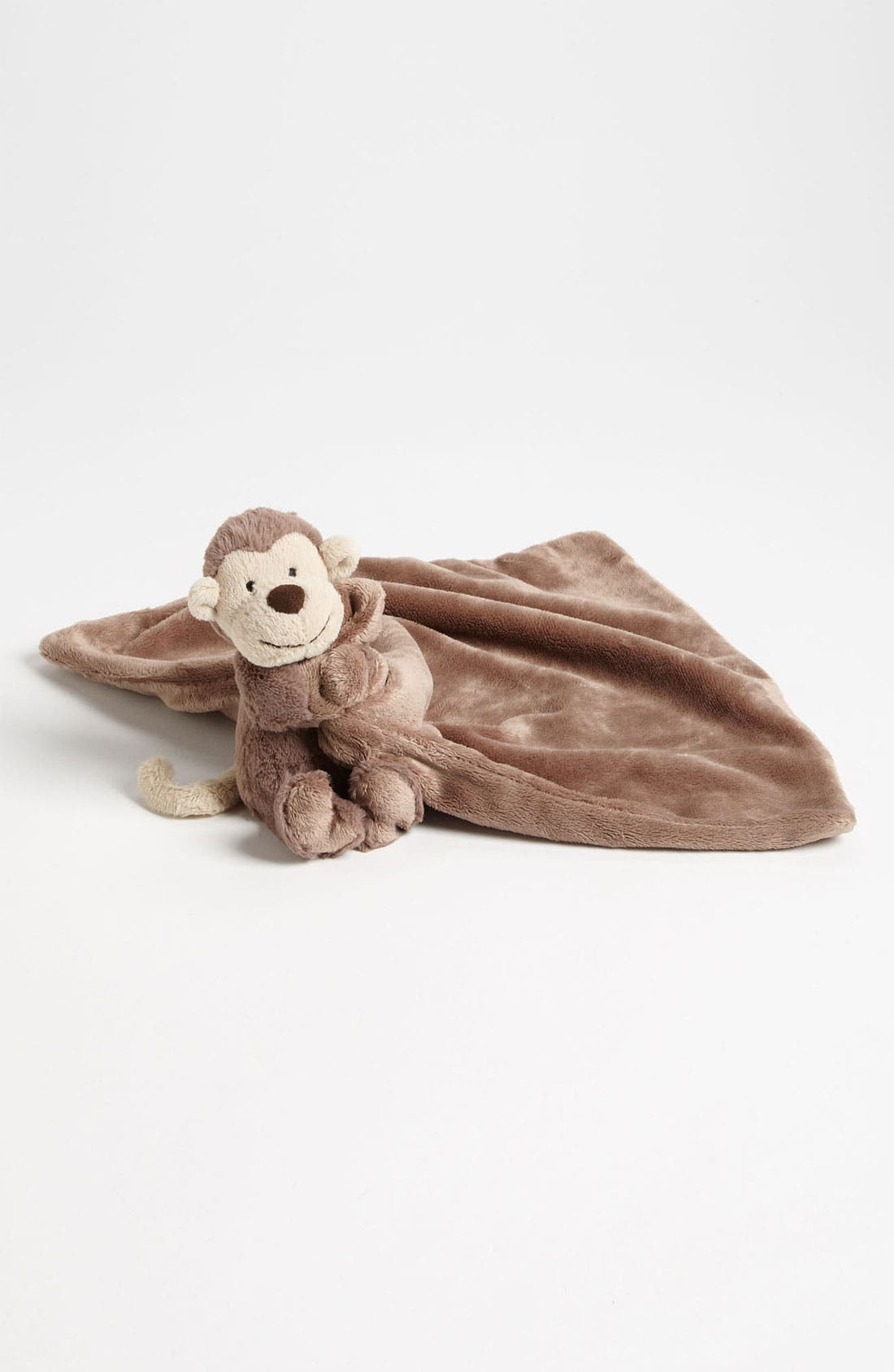 'Bashful Monkey Soother' Stuffed Animal & Blanket,                             Main thumbnail 1, color,                             Brown
