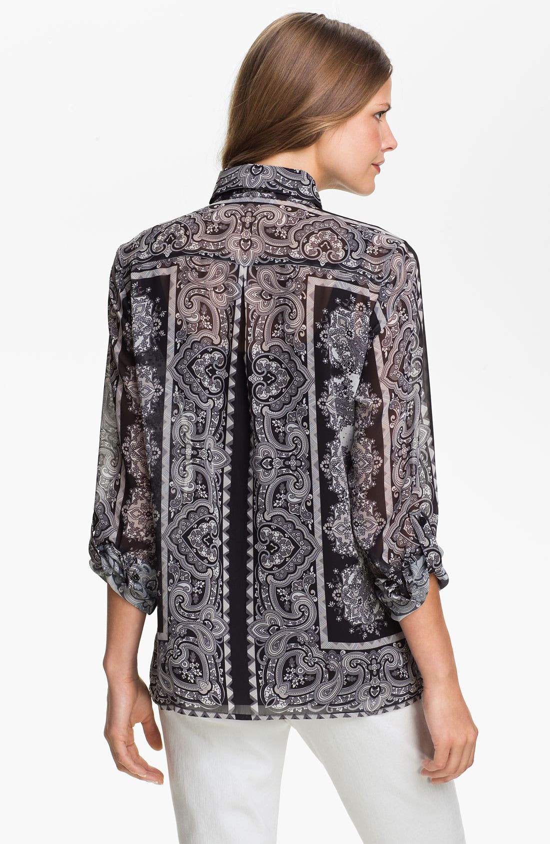 Alternate Image 2  - August Silk Print Chiffon Blouse