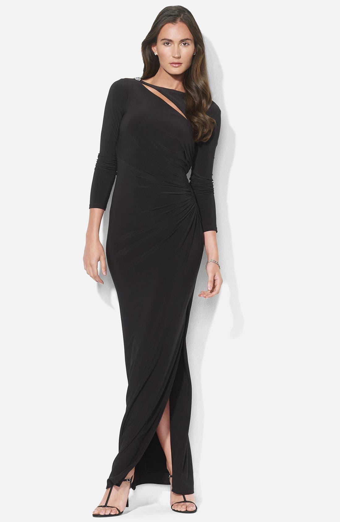 Alternate Image 1 Selected - Lauren Ralph Lauren Asymmetrical Cutout Jersey Column Gown