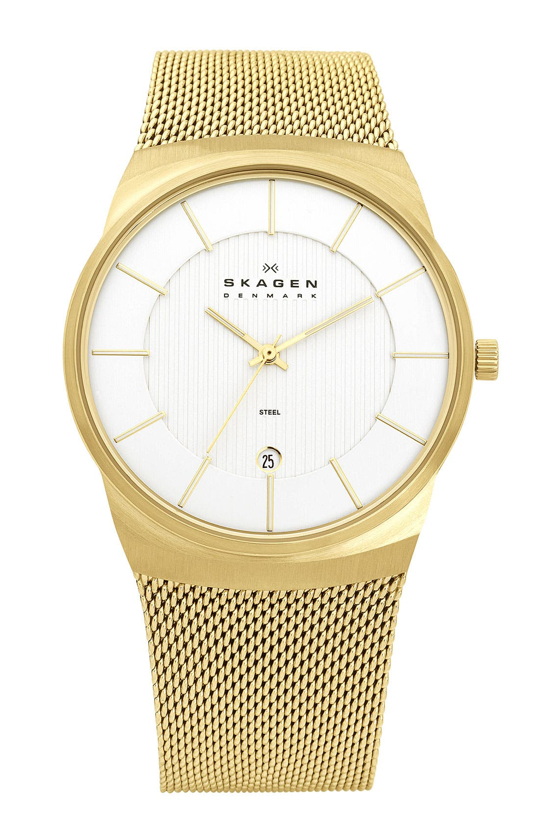 Main Image - Skagen Round Stripe Dial Mesh Strap Watch, 40mm