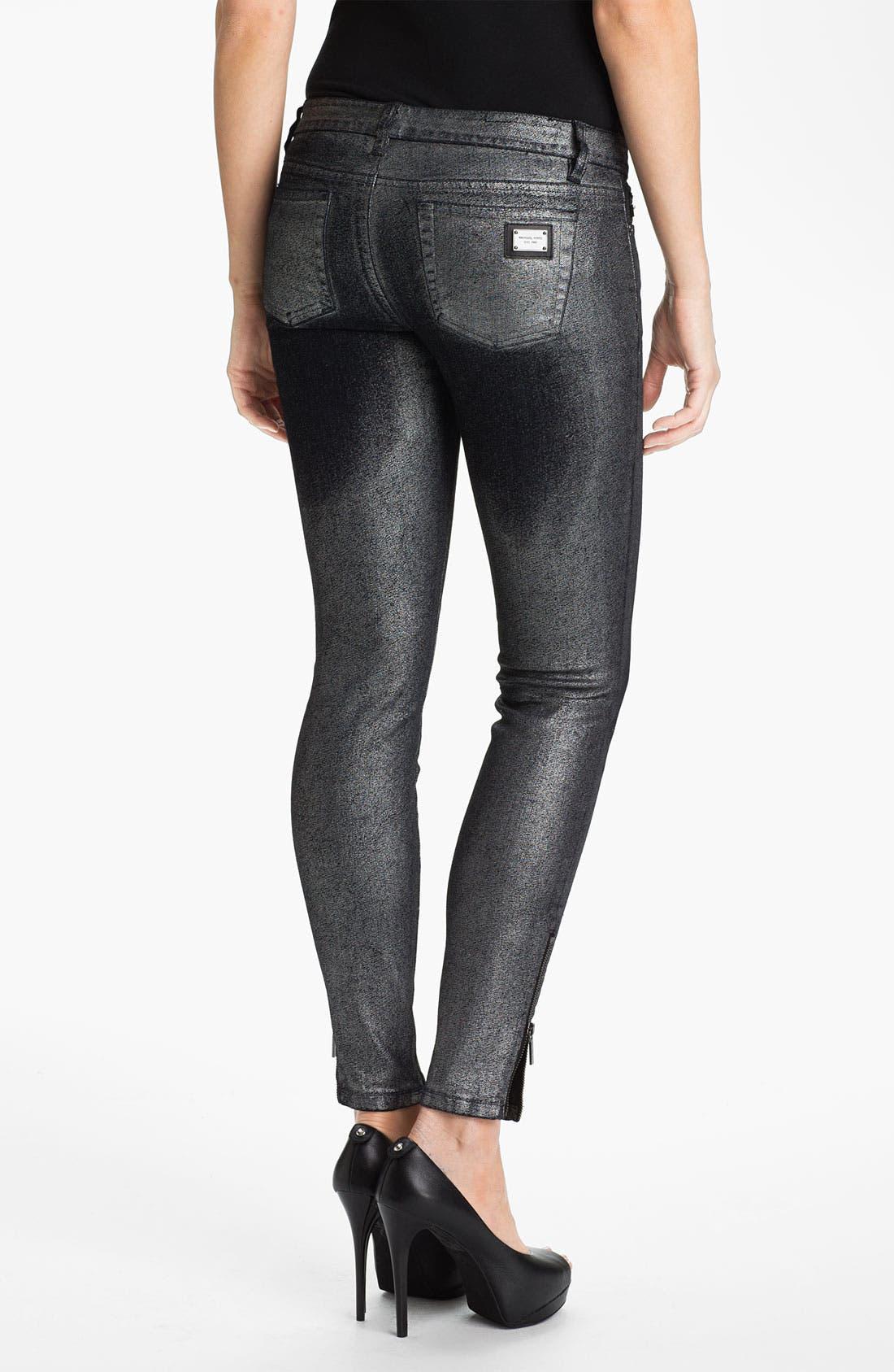 Alternate Image 2  - MICHAEL Michael Kors Metallic Foil Skinny Pants