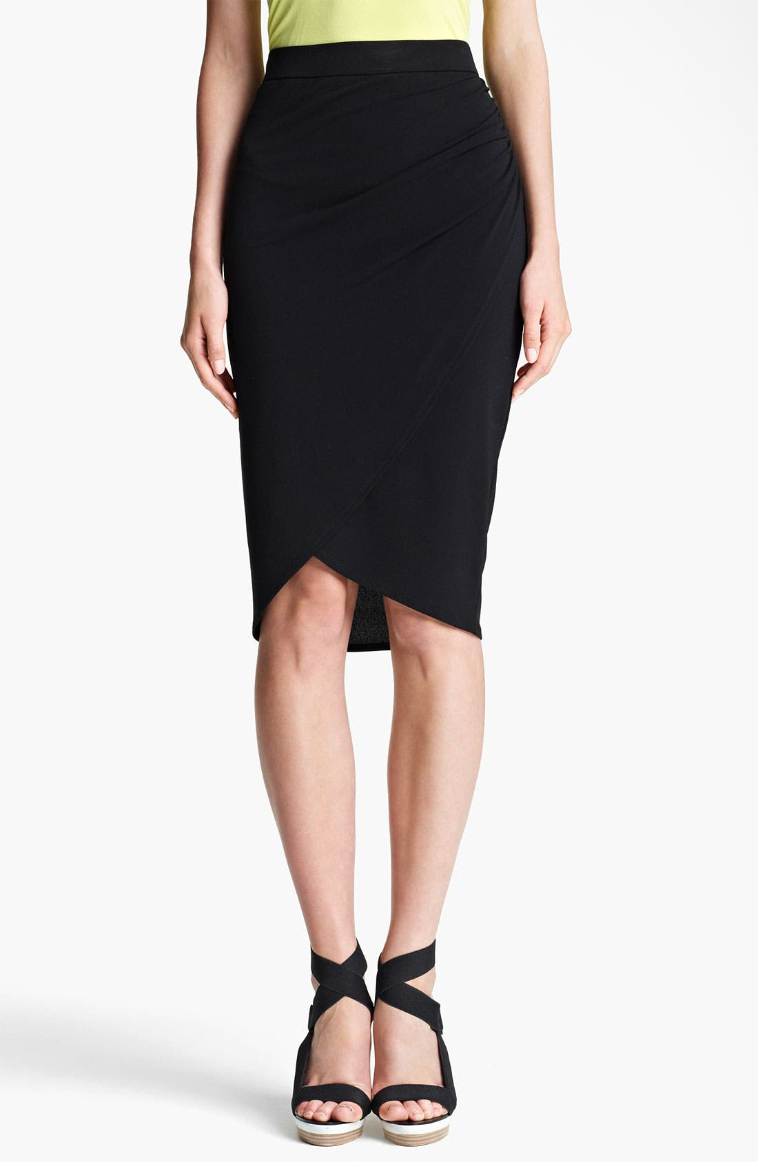 Main Image - Lida Baday Stretch Jersey Faux Wrap Skirt