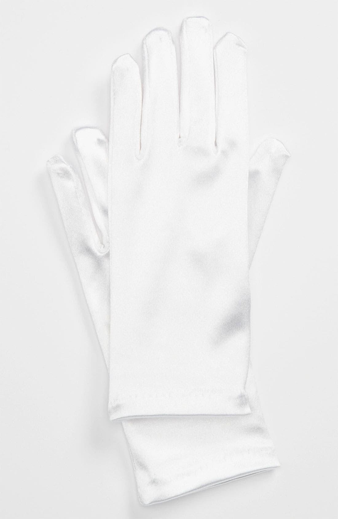 Alternate Image 1 Selected - Andrea's Beau Satin Gloves (Little Girls & Big Girls)