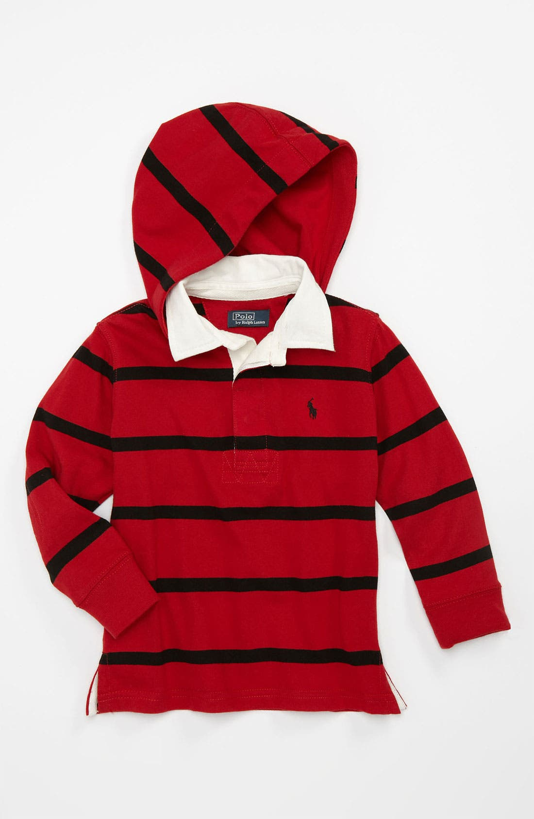 Alternate Image 1 Selected - Ralph Lauren Hooded Rugby Shirt (Toddler)