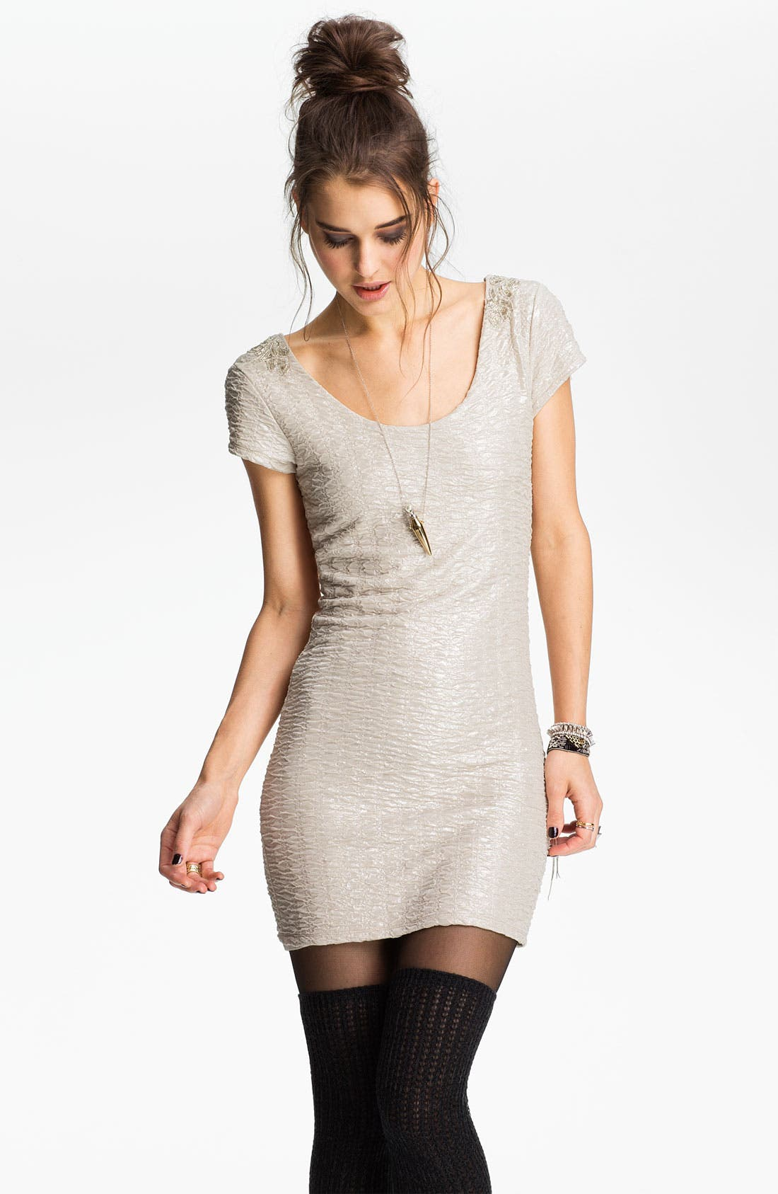 Embellished U-Back Body-Con Dress,                         Main,                         color, Champagne Combo
