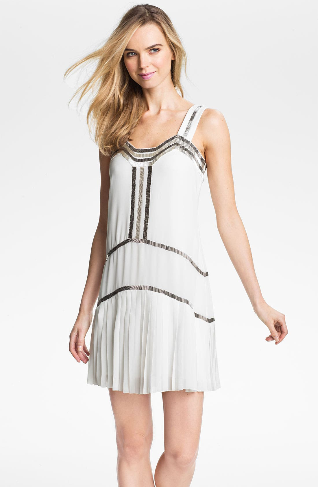 Main Image - Vince Camuto Metallic Bead Trim Chiffon Shift Dress