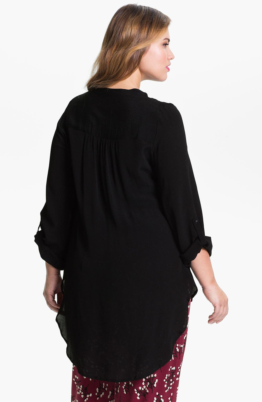 Alternate Image 2  - Evans Step Hem Roll Sleeve Top (Plus)