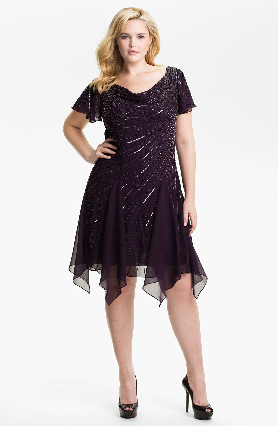 Main Image - J Kara Beaded Chiffon Dress (Plus)