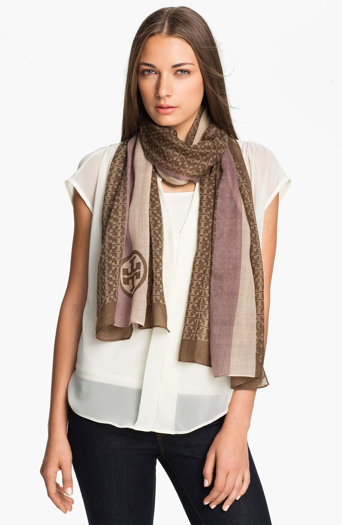 Alternate Image 1 Selected - Tory Burch Logo Scarf
