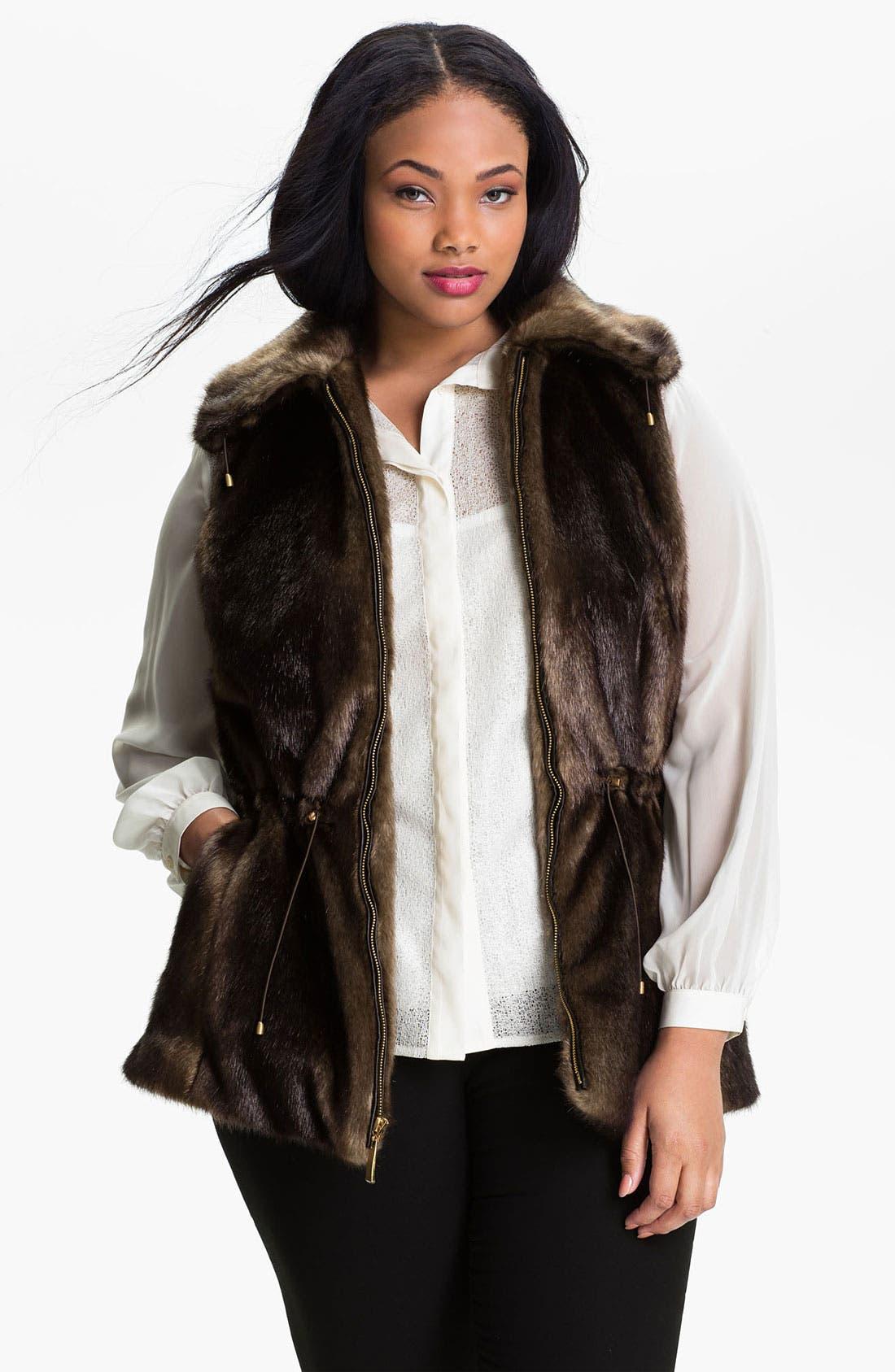 Alternate Image 1 Selected - Ellen Tracy Wing Collar Faux Fur Vest (Plus)