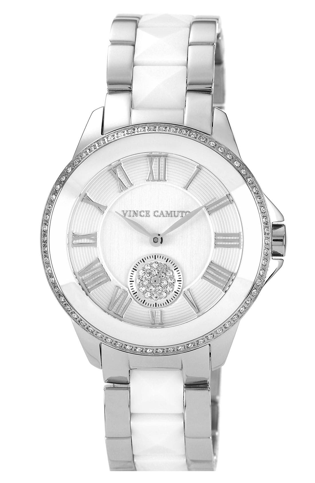 Alternate Image 1 Selected - Vince Camuto Ceramic & Steel Pyramid Bracelet Watch, 38mm (Online Only)