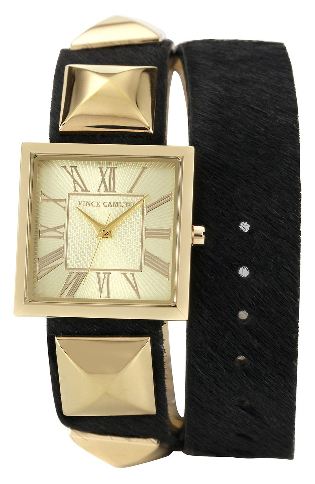 Main Image - Vince Camuto Double Wrap Leather Strap Watch, 27mm