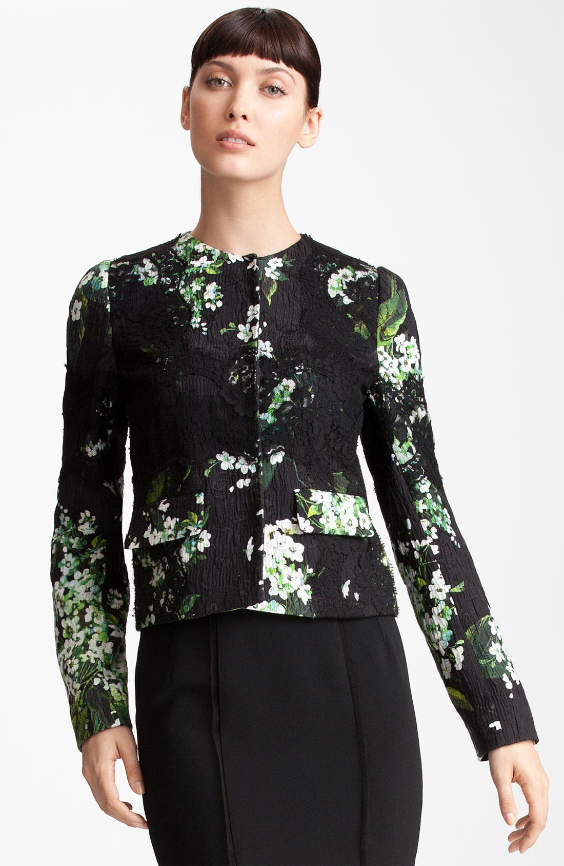 Alternate Image 1 Selected - Dolce&Gabbana Lily Print & Lace Detail Brocade Jacket