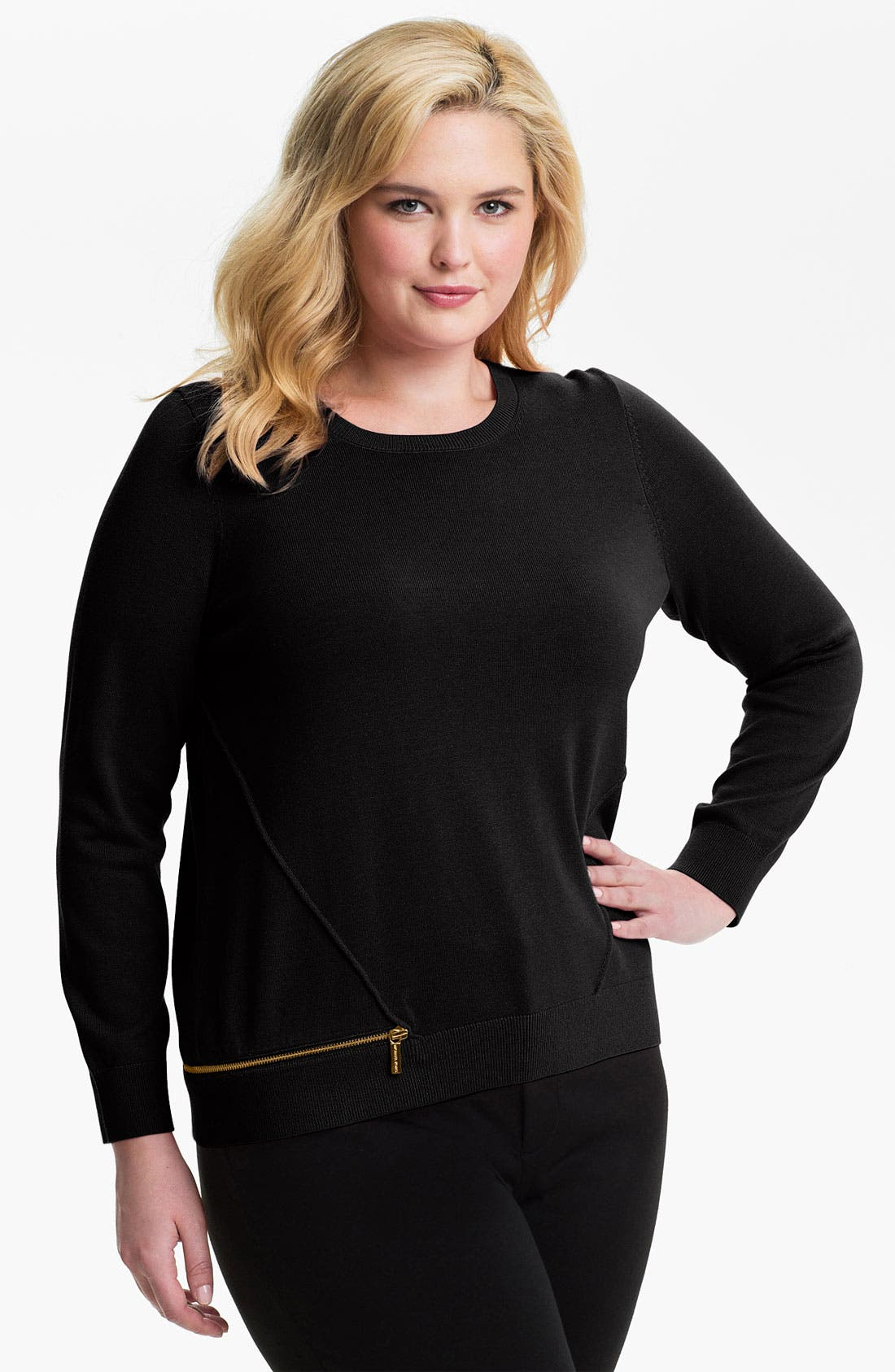 Alternate Image 1 Selected - MICHAEL Michael Kors Zip Detail Sweater (Plus)
