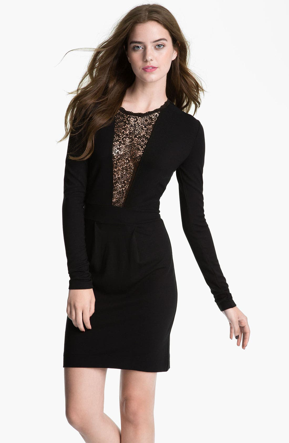 Main Image - French Connection 'Alicia' Lace Inset Jersey Sheath Dress