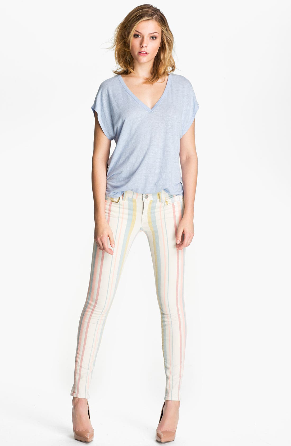 Alternate Image 4  - J Brand Pastel Stripe Stretch Denim Skinny Jeans (Candy Stripe)