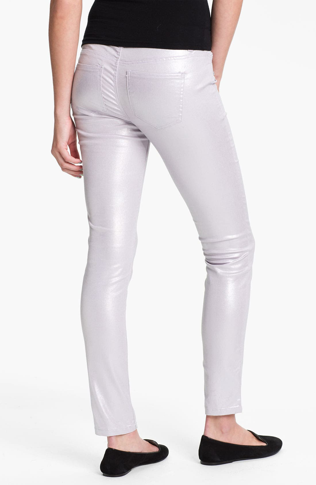 Main Image - Fire Pearl Coated Skinny Jeans (Juniors)