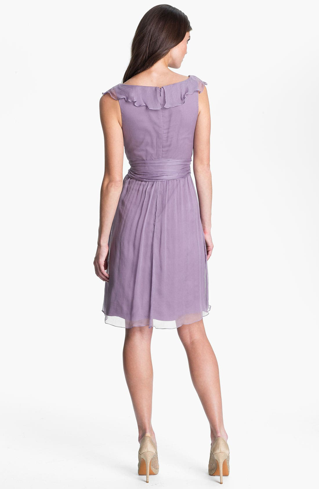 Alternate Image 2  - Amsale Ruffle Crinkle Silk Chiffon Dress