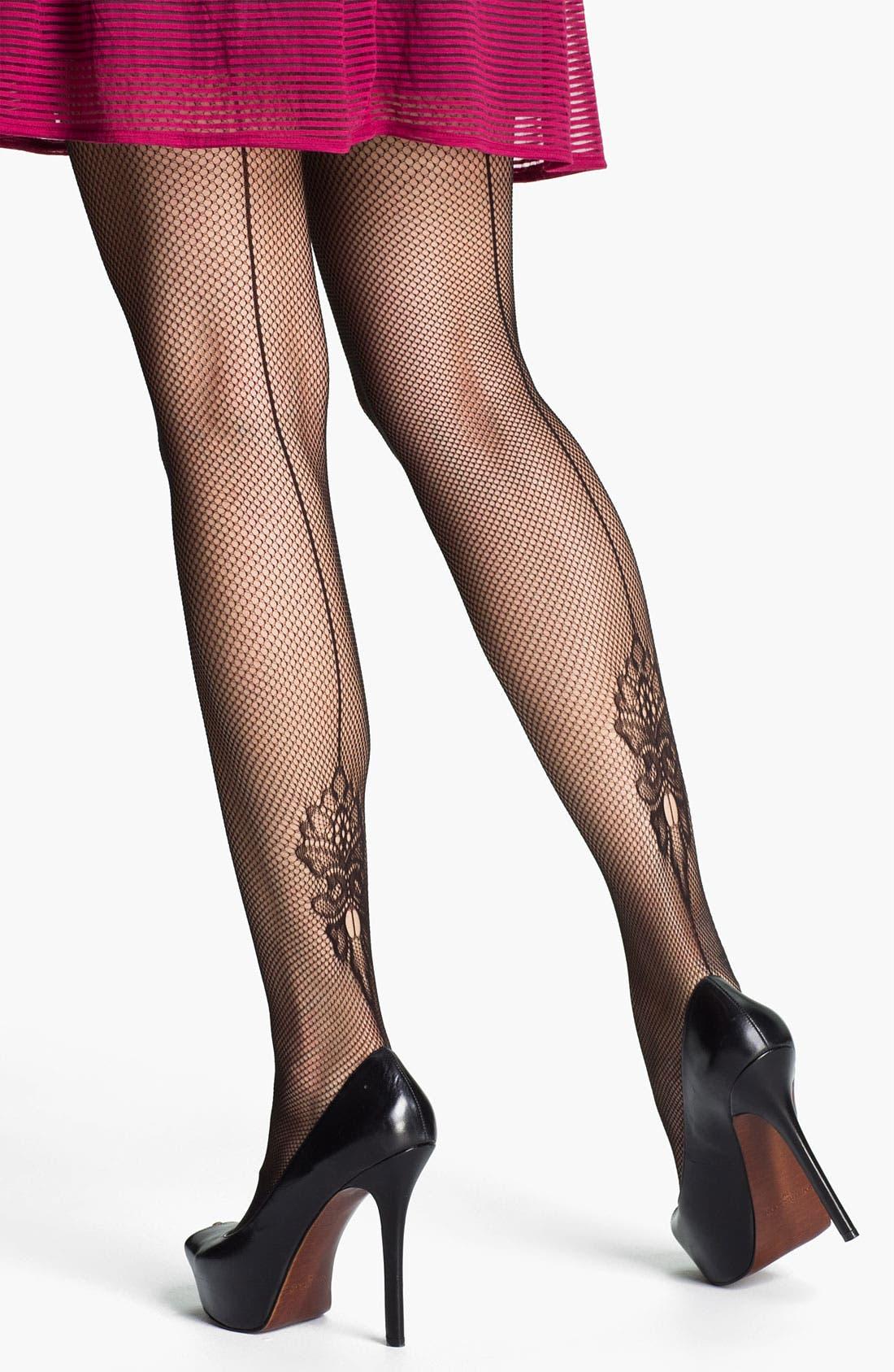 Main Image - SPANX® 'Uptown Floral' Back Seam Fishnet Pantyhose