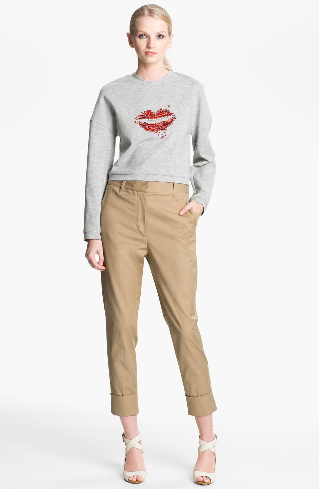 Alternate Image 1 Selected - 3.1 Phillip Lim Bead Embellished Crop Sweatshirt