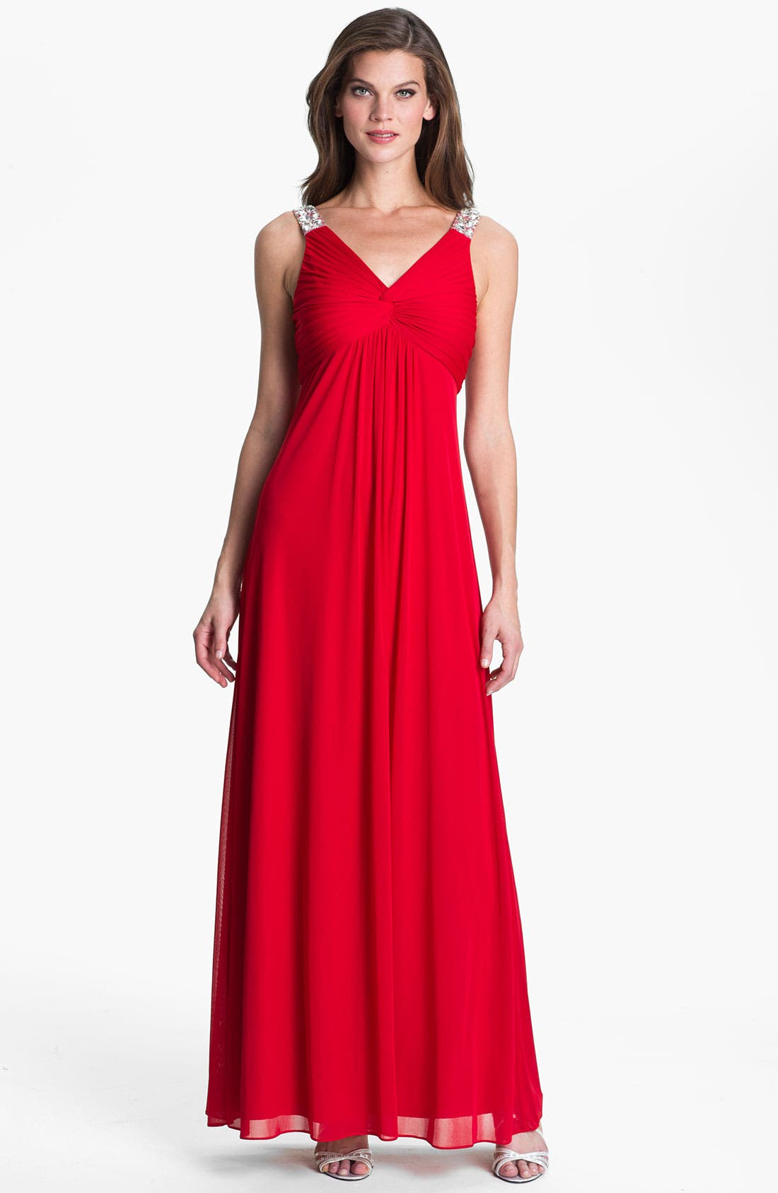 Main Image - Hailey by Adrianna Papell Embellished Strap Knot Front Gown